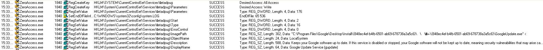 ProcMon capture : ZeroAccess creating its service key