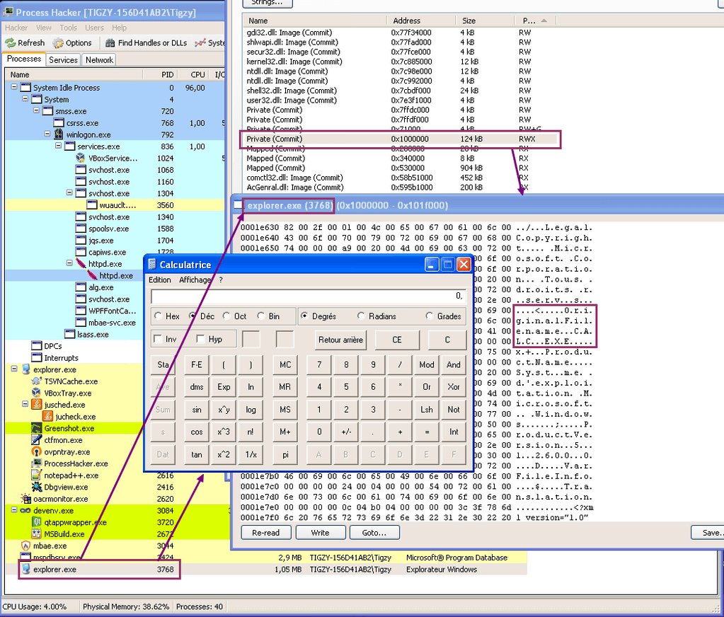 calc.exe strings appear in explorer.exe sections