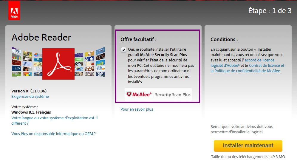 Adobe reader installing McAfee