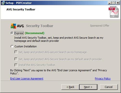 Pdfcreator installing AVG-Toolbar