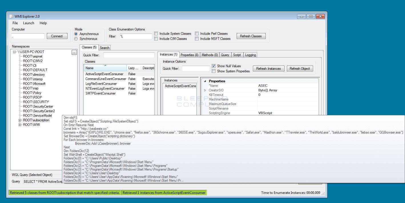 RogueKiller, Inside WMI Scanner - Adlice Software